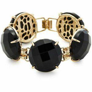 Kendra Scott Black Cassie Gold Statement Bracelet